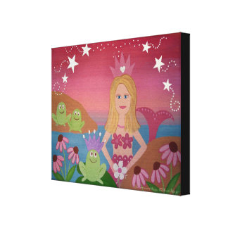 Kiss The Frogs - 16x20 Mermaid Wedding Kids Art Canvas Print