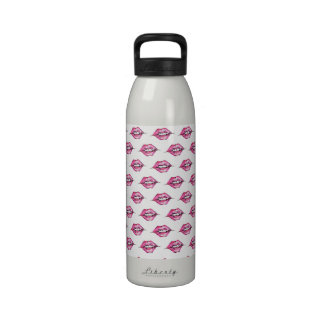 Kiss the Lips - Pink White Reusable Water Bottles