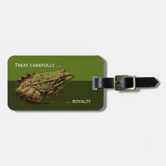 Kiss the Prince Funny Frog Luggage Tag