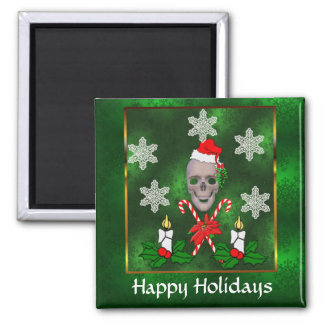 Kiss The Santa Skull 2 Inch Square Magnet