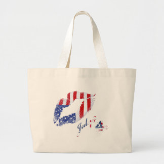 Kiss the USA Flag Large Tote Bag