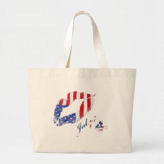 Kiss the USA Flag Large Tote Bag