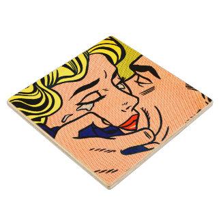 Kiss V - Lichtenstein - Vintage Pop Art Wood Coaster