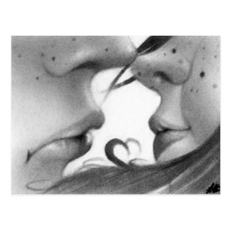 Kiss young couple postcard