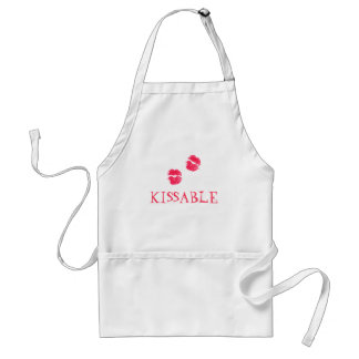 Kissable Lips Red Lipstick Kisses Valentine's Day Adult Apron