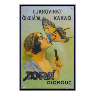 Kissed By A Butterfly Vintage Chocolate Ad Poster