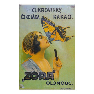 Kissed By A Butterfly Vintage Chocolate Ad - Print