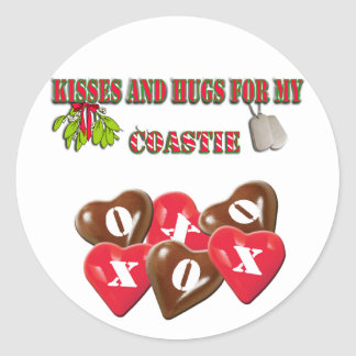 Kisses And Hugs For My Coastie Stickers