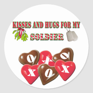 Kisses And Hugs For My Soldier Stickers