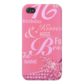 Kisses and hugs sweet 16 birthday iPhone 4/4S case