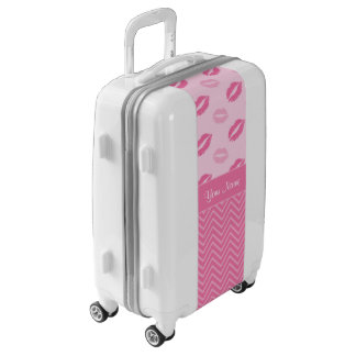 Kisses and Zig Zags Pink and White Luggage