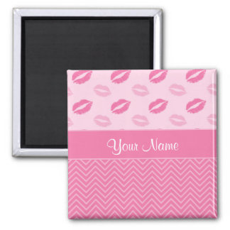 Kisses and Zig Zags Pink and White Magnet