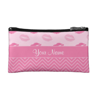 Kisses and Zig Zags Pink and White Makeup Bag