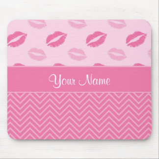 Kisses and Zig Zags Pink and White Mouse Pad