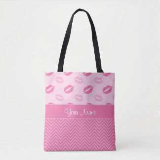 Kisses and Zig Zags Pink and White Tote Bag