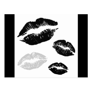 kisses-blackwhitegrey postcards