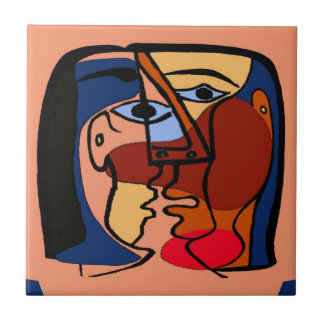 Kisses Cubism Abstract Ceramic Tile
