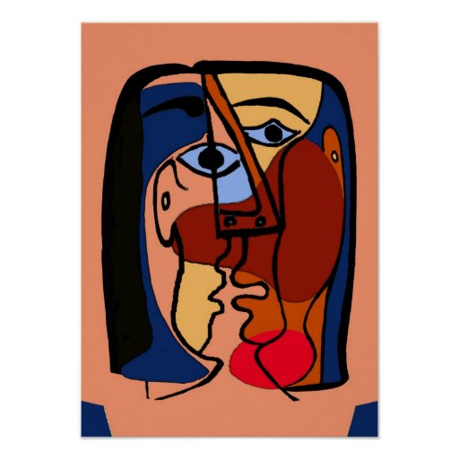 Kisses Cubism Abstract Faces Poster