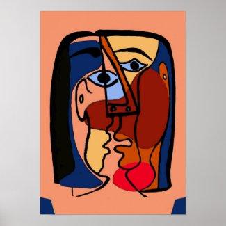 Kisses Cubism Abstract Print
