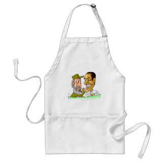 Kisses from Cuba and Usa FIDEL and BARACK Adult Apron