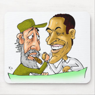 Kisses from Cuba and Usa FIDEL and BARACK Mouse Pad