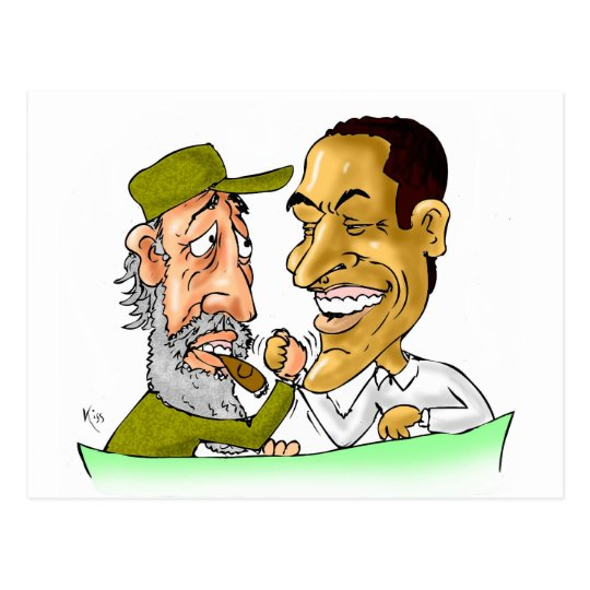 Kisses from Cuba and Usa FIDEL and BARACK Postcard