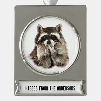 Kisses from Custom Name Fun Raccoon Animal art Silver Plated Banner Ornament