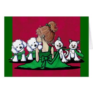 Kisses & Giggles Maltese & Cats Christmas Card