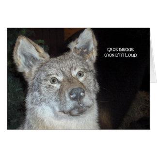 kisses my p' tit wolf card