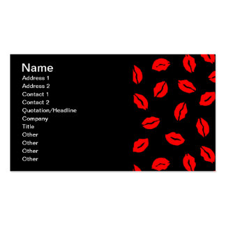 kisses pattern BLACK RED Business Card Templates