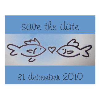 kissfish photo, save the date, 31 december 2010 postcard