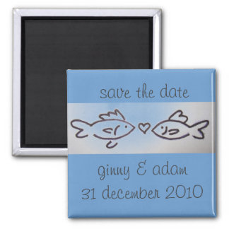 kissfish save the date 2 inch square magnet