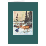Kissing a Reindeer Greeting Card