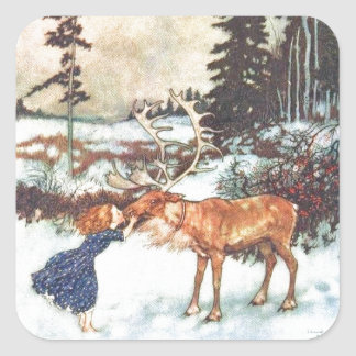 Kissing a Reindeer Square Stickers