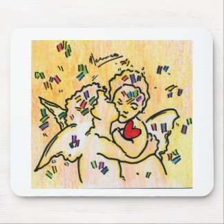 kissing angels with heart love painting  Mousepads