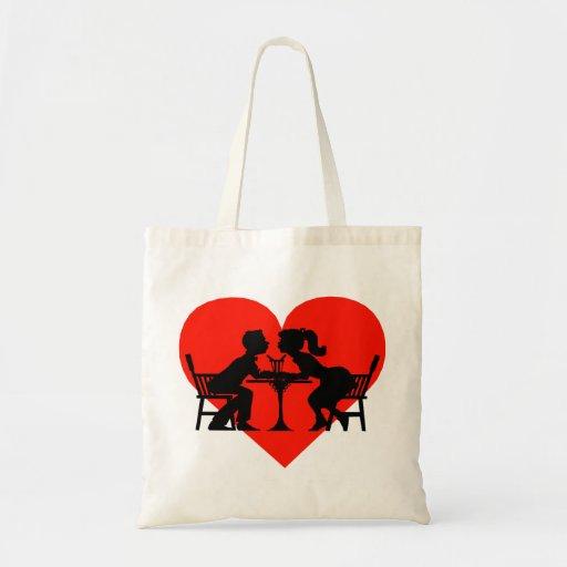 Kissing At The Soda Shop Tote Bags