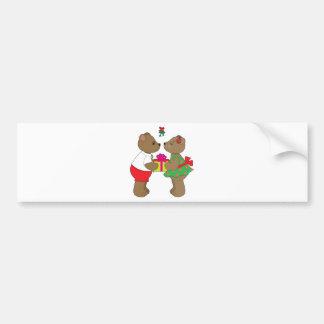Kissing Bears Mistletoe Bumper Sticker