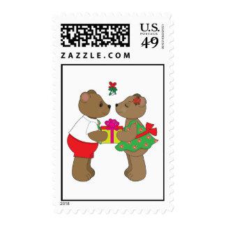 Kissing Bears Mistletoe Postage