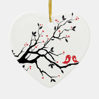Kissing bird on tree branch with red heart leaves ceramic ornament
