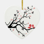 Kissing bird on tree branch with red heart leaves Double-Sided heart ceramic christmas ornament