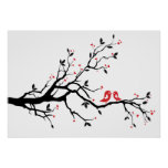 Kissing bird on tree branch with red heart leaves posters