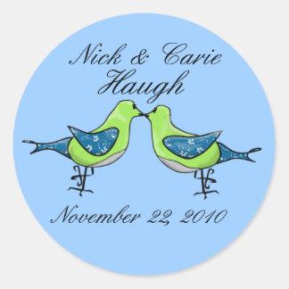 Kissing birdies wedding or engagement stickers