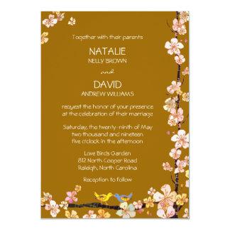 Kissing Birds Brown Fall Floral Wedding Card