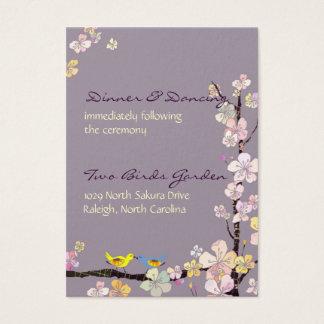 Kissing Birds Wedding Reception Business Card