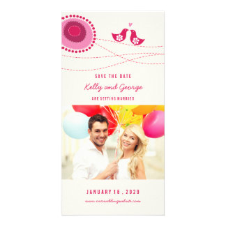 Kissing Birds Whimsical Dots Photo Save The Date Card