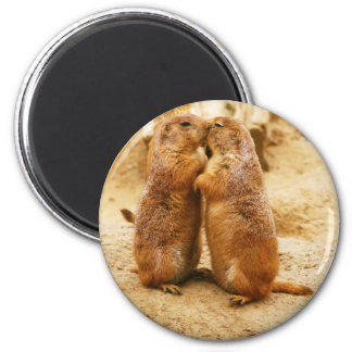Kissing Black Tailed Prairie Dogs 2 Inch Round Magnet