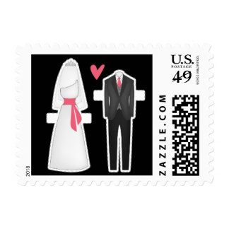 Kissing Booth - Bride + Groom Postage Stamps