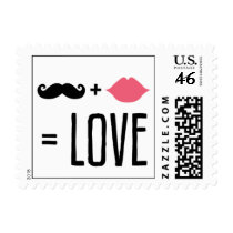 Kissing Booth - Mr + Mrs = Love Postage Stamps
