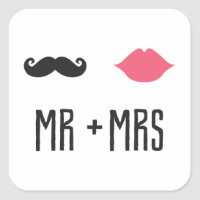 Kissing Booth - Mr.   Mrs. - Square Square Sticker