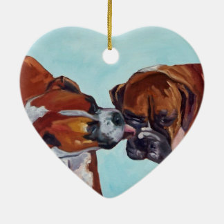 Kissing Boxer Dogs Heart Shaped Ornament